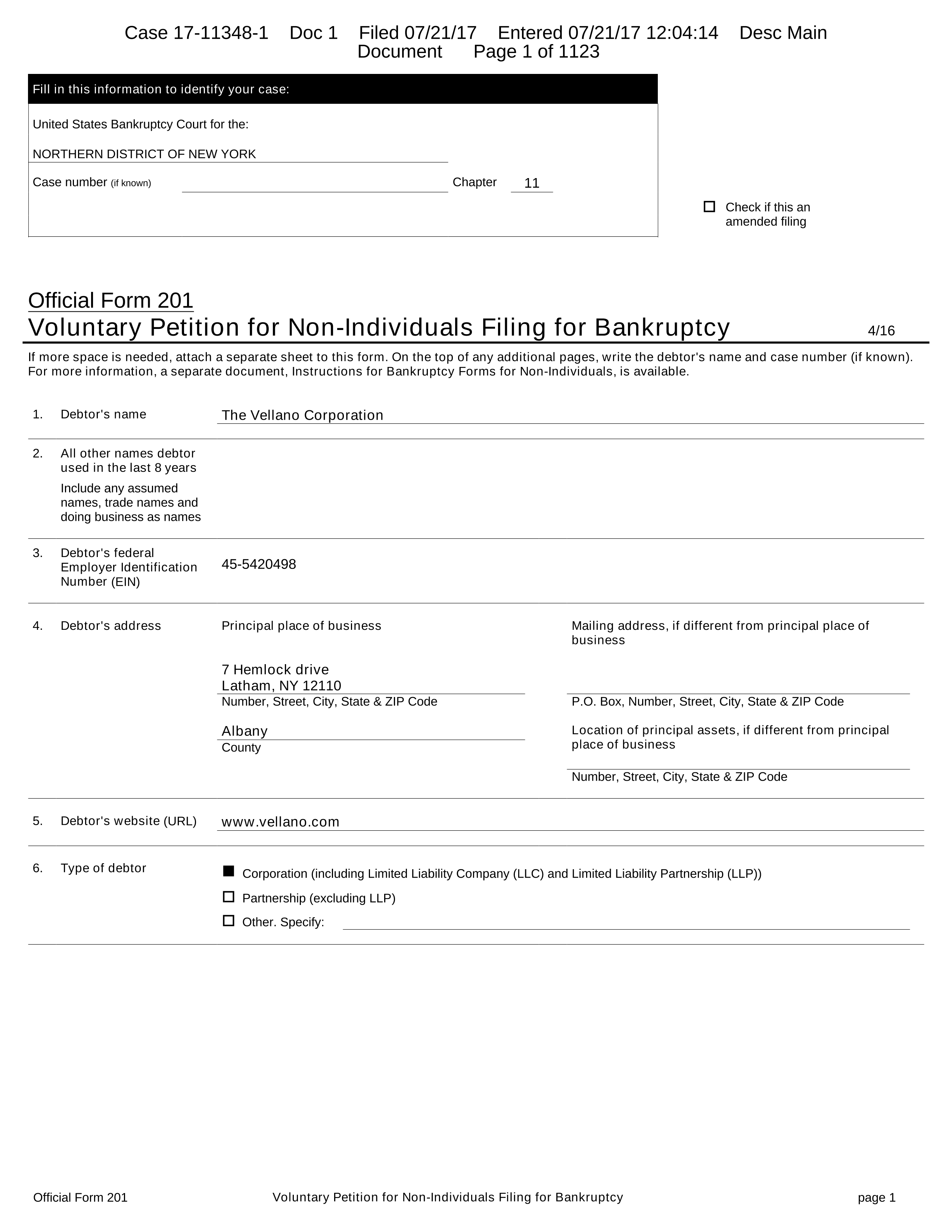 United States Bankruptcy Court for the NORTHERN DISTRICT OF NEW YORK Case number if known Chapter 11 † Check if this an amended filing ficial Form 201